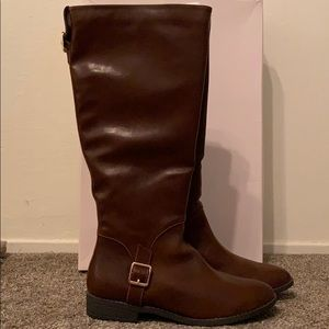 Vegan Leather Knee High Riding Boots